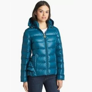 Betsey Johnson Lightweight Down Coat Teal  Small